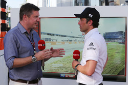 (L to R): David Croft, Sky Sports Commentator with Patrick Dempsey who is competing in the Porsche Supercup race