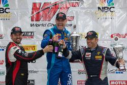 GT-A Winners Podium: Michael Mills (left, second), Marcelo Hahn (center, first), Henrik Hedman (right, third)