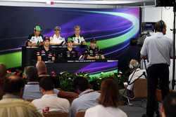 F1: The FIA Press Conference: Kamui Kobayashi, Caterham; Esteban Gutierrez, Sauber; Marcus Ericsson, Caterham; Jean-Eric Vergne, Scuderia Toro Rosso; Sergio Perez, Sahara Force India F1; Pastor Maldonado, Lotus F1 Team