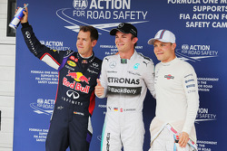 F1: Qualifying top three in parc ferme Sebastian Vettel, Nico Rosberg and Valtteri Bottas