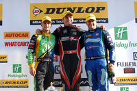 Race winner Aron Smith, second place Mat Jackson, third place Colin Turkington