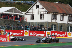 Jenson Button, McLaren MP4-29 leads team mate Kevin Magnussen, McLaren MP4-29