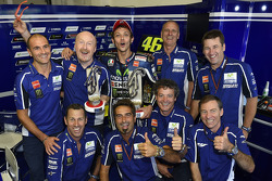 Race winner Valentino Rossi celebrates with the Yamaha team
