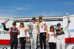 GT Winners Podium: Ryan Dalziel (second, left), Robert Thorne (first, center), Andy Pilgrim (third, right)