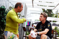 (L to R): Kai Ebel, RTL TV Presenter with Nico Hulkenberg, Sahara Force India F1