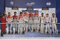 Overall podium: winners Marcel Fässler, Andre Lotterer, Benoit Tréluyer, second place Lucas di Grassi, Loic Duval, Tom Kristensen, third place Anthony Davidson, Nicolas Lapierre, Sebastien Buemi