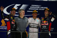 Podium: Daniel Ricciardo, Lewis Hamilton and Sebastian Vettel
