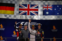 Podium: 1st place Lewis Hamilton, Mercedes AMG F1, 2nd place Sebastian Vettel, Red Bull Racing RB10 and 3rd place Daniel Ricciardo, Red Bull Racing RB10