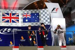 Race winner Lewis Hamilton, Mercedes AMG F1Daniel Ricciardo, Red Bull Racing, and Sebastian Vettel, Red Bull Racing