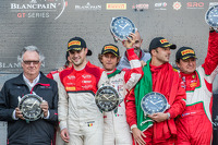 Championship podium: Pro Cup champion Laurens Vanthoor, Pro Am champions Andrea Rizzoli, Stefano Gai, Gentleman Trophy champions Peter Mann, Francisco Guedes