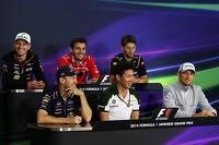 The FIA Press Conference: Nico Hulkenberg, Sahara Force India F1; Jules Bianchi, Marussia F1 Team; Romain Grosjean, Lotus F1 Team; Sebastian Vettel, Red Bull Racing; Kamui Kobayashi, Caterham; Jenson Button, McLaren