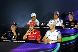 The FIA Press Conference: Felipe Massa, Williams; Adrian Sutil, Sauber; Daniil Kvyat, Scuderia Toro Rosso; Sebastian Vettel, Red Bull Racing; Fernando Alonso, Ferrari; Jenson Button, McLaren