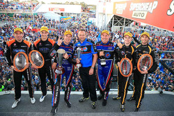 Podium: race winners Chaz Mostert, Paul Morris, second place James Moffat, Taz Douglas, third place Nick Percat, Oliver Gavin
