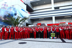 Massimo Rivola, Ferrari Sporting Director; Fernando Alonso, Ferrari; Marco Mattiacci, Ferrari Team Principal; Kimi Raikkonen, Ferrari and members of the Ferrari and Marussia F1 Team show their support for Jules Bianchi