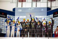 LMP2 podium: winners Roman Rusinov, Olivier Pla, Julien Canal, second place Matthew Howson, Richard Bradley, Alexandre Imperatori, third place Keiko Ihara, Gustavo Yacaman, Alex Brundle