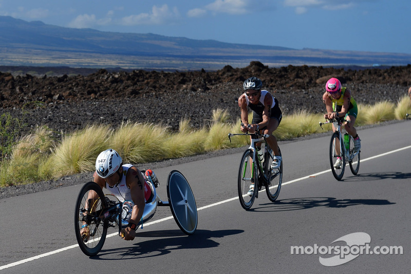 Alex Zanardi competes in the Hawaii long-distance triathlon