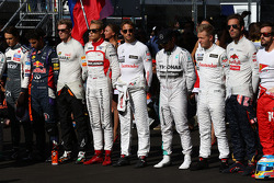 The drivers take a moment in respect of Jules Bianchi, Marussia F1 Team MR03