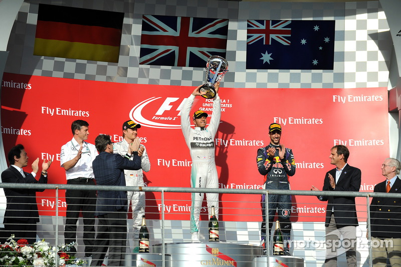 2014: 1. Lewis Hamilton, 2. Nico Rosberg, 3. Daniel Ricciardo