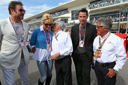 (L to R): Simon Le Bon, Duran Duran Lead Singer with Pamela Anderson, Actress; Bernie Ecclestone, Actor; and Mario Andretti, Circuit of The Americas' Official Ambassador on the grid