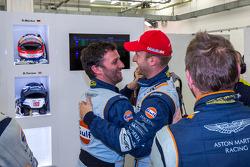 Darren Turner and Stefan Mücke celebrate their pole victory
