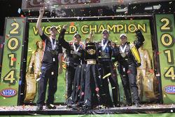 Champions Erica Enders-Stevens, Andrew Hines, Tony Schumacher, Matt Hagan