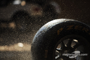 Pirelli tyres being washed