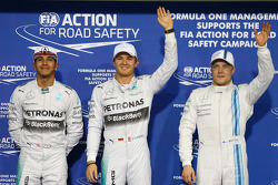 Pole for Nico Rosberg, Mercedes AMG F1 W05, 2nd for Lewis Hamilton, Mercedes AMG F1 and 3rd for Valtteri Bottas, Williams FW36