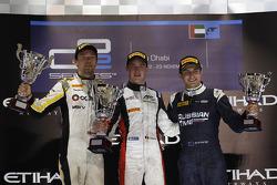 Race winner Stoffel Vandoorne, ART Grand Prix, second place Jolyon Palmer, DAMS, third place Mitch Evans, RT RUSSIAN TIME