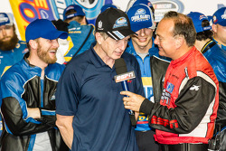 Championship victory lane: Bill Elliott celebrates with Dale Earnhardt Jr.