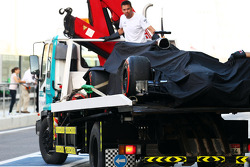 The McLaren MP4-29H of Stoffel Vandoorne, McLaren Test and Reserve Driver is recovered back to the pits on the back of a truck