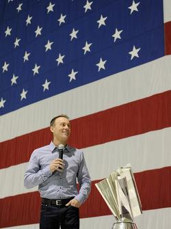 2014 champion Kevin Harvick, Stewart-Haas Racing speaks at Nellis Air Force Base