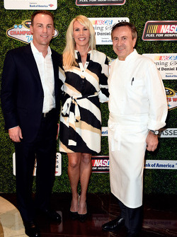 Kevin Harvick, Stewart-Haas Racing, with wife DeLana Harvick and celebrity chef Daniel Boulud