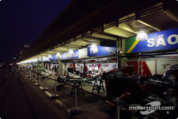 Pitlane activity at night