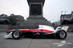 The A1 Grand Prix car at the base of Nelson's Column in Trafalgar Square