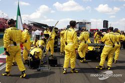 Jordan team members on the starting grid