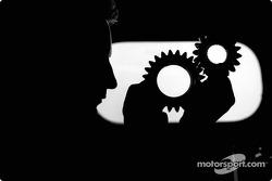 Silhouette of a BAR-Honda team member