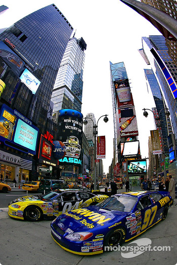 NASCAR racing, the star of the day in Times Square