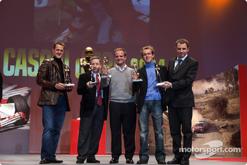 The 'Caschi d'oro' prize giving: Michael Schumacher, Jean Todt, Rubens Barrichello and Luca Badoer