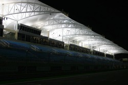 Bahrain International Circuit grandstands at night