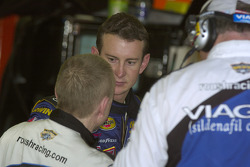 Mark Martin talks with Kurt Busch after the brush with the wall