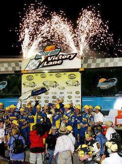 Victory lane: race winner Kurt Busch celebrates with this team