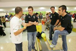 Indy drivers bowling competition: Tony Kanaan, Dan Wheldon, Bryan Herta and Dario Franchitti