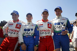 Winners Sébastien Loeb and Daniel Elena celebrate with Manfred Stohl and Ilka Minor