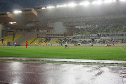 Charity Soccer at the Stade Louis 2, with Prince Albert II of Monaco: rain keeps falling