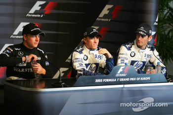 Saturday press conference: pole winner Nick Heidfeld with Kimi Raikkonen and Mark Webber