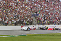 Green flag: Ryan Newman leads Kasey Kahne