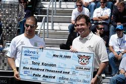 Tony Kanaan receives the Pole check