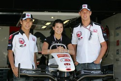 Takuma Sato, Danica Patrick and Jenson Button