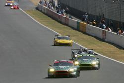#58 Aston Martin Racing Aston Martin DBR9: Tomas Enge, Peter Kox, Pedro Lamy ahead of #59 Aston Martin Racing Aston Martin DBR9: David Brabham, Stephane Sarrazin, Darren Turner