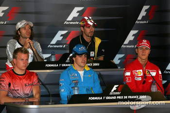 FIA press conference: Jarno Trulli, Tiago Monteiro, Kimi Raikkonen, Fernando Alonso and Michael Schumacher